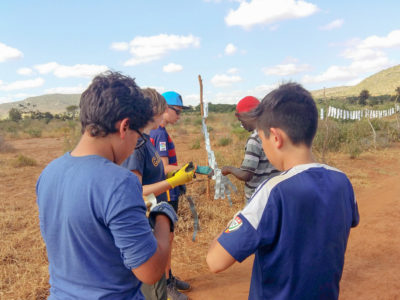 Putting up elephant deterrent fences
